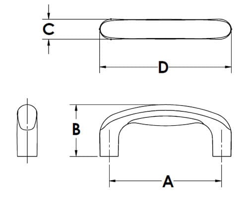 Rogan Corporation TPE Overmolded Pull Handles Chart Drawings