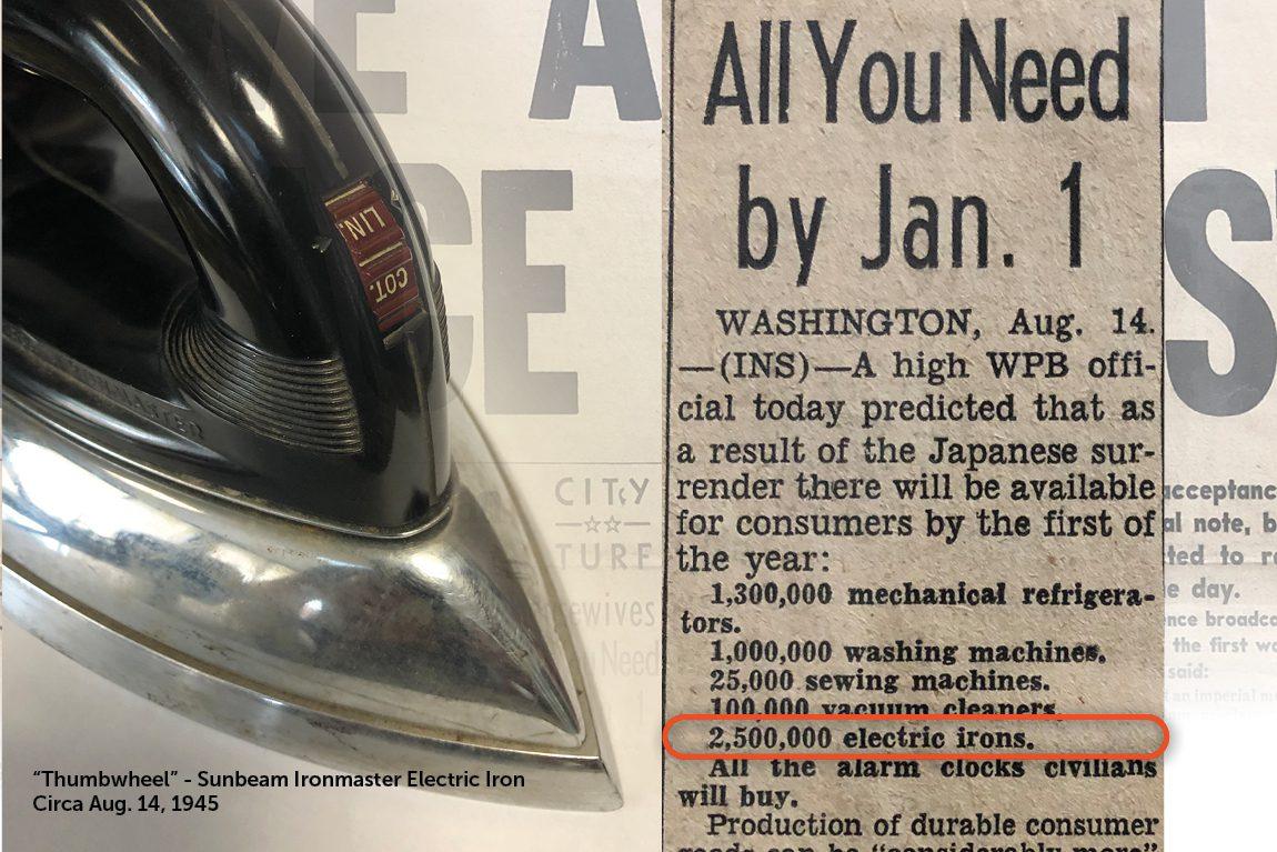 Sunbeam Thumbwheel - 1945 Electric Iron